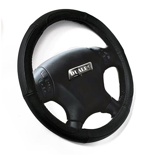 Poťah volantu koža čierny 37-39 cm