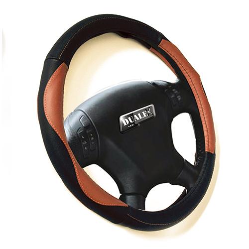 Poťah volantu koža čierno-hnedý 37-39 cm